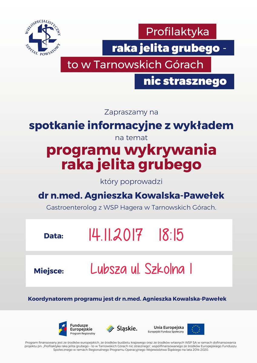 Zaproszenie na Spotkanie/wykład 14.11 dot. Programu Wykrywania Raka Jelita Grubego