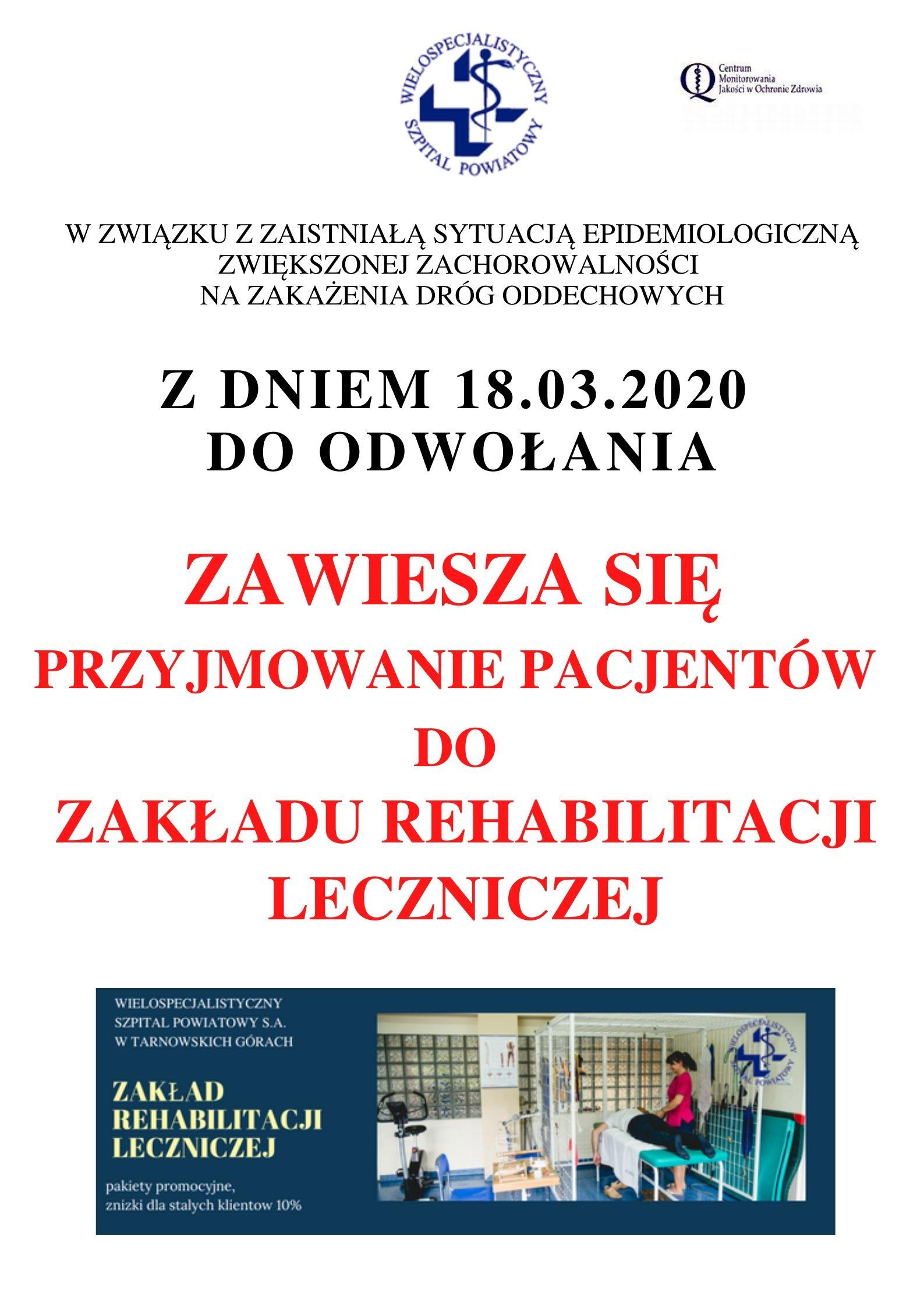 Zakład Rehabilitacji Leczniczej – zawiesza się przyjęcia!