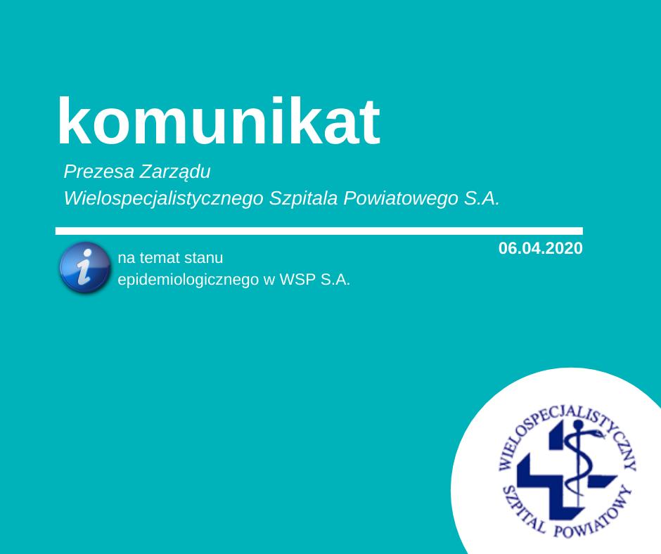 Stan epidemiologiczny – komunikat Prezesa Zarządu