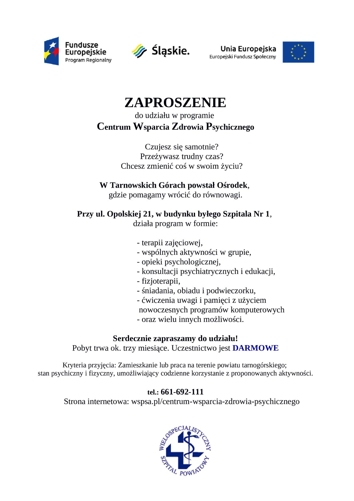 Centrum Wsparcia Zdrowia Psychicznego – zaproszenie do udziału